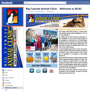 Big Cypress Animal Clinic Facebook Welcome Page
